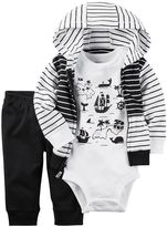 Carter's Baby Boy Treasure Island Bodysuit, Striped Hooded Cardigan & Pants Set
