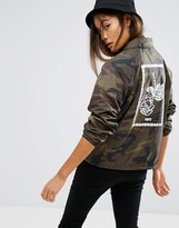 Obey Coach Jacket With Rose Back Graphic In Camo