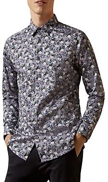 Ted Baker Bird & Floral Print Slim Fit Button-Down Shirt