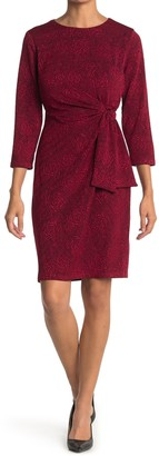London Times Rose 3/4 Sleeve Tie Front Sheath Dress