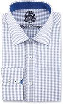 English Laundry Mini Check Long-Sleeve Dress Shirt, Navy