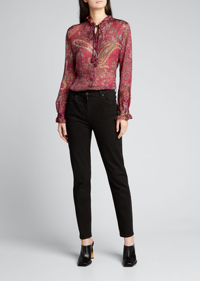 Etro Floral Embroidered-Pocket Skinny Jeans