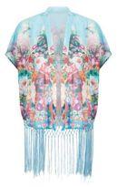 Parisian Blue Floral Print Tassel Hem Kimono