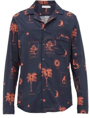 Desmond & Dempsey La Loteria Palm Print Cotton Pyjama Shirt - Mens - Red Navy