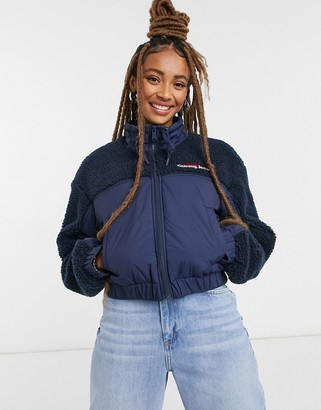 Tommy Jeans Sherpa jacket in navy