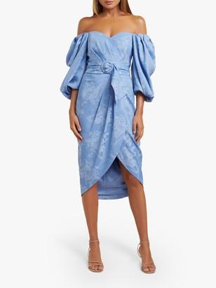 Forever New Elmira Puff Sleeve Floral Print Midi Dress, Blue