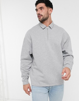 ASOS DESIGN oversized sweatshirt with polo collar in grey marl