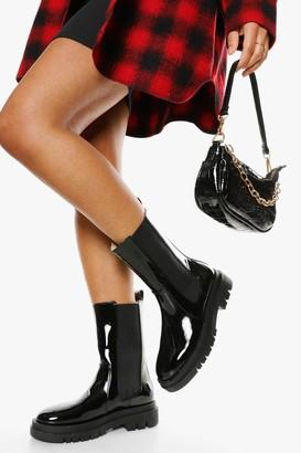 boohoo Patent Calf High Chunky Sole Chelsea Boot