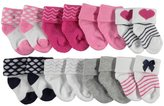 "Luvable Friends Baby Girls' ""Hearts & Dots"" 8-Pack Socks"