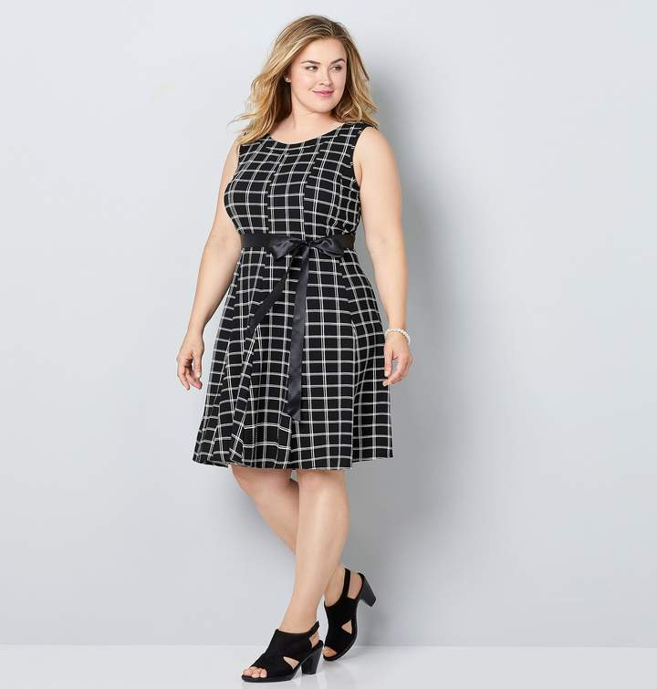 Plus Size Black And White Plaid Fit And Flare Dress