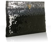 iron ombre trimmed sequined clutch