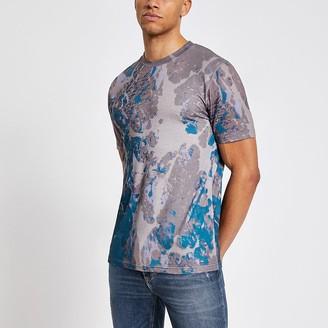 River Island Dark stone marble printed slim fit T-shirt
