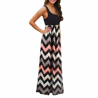 Mumustar 01 Maxi Summer Dresses for Women Sleeveless Striped Casual Beach Holiday Sundress Tank Dresses Mumustar Black 2XL
