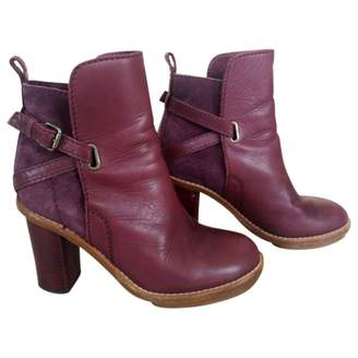 Acne Studios Cypress Burgundy Leather Ankle boots