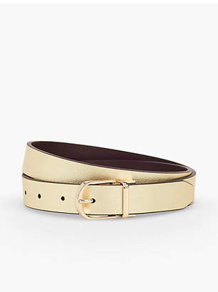 Talbots Leather Reversible Belt-Gold/Coffee