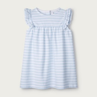 The White Company Frill-Sleeve Jersey Dress, Blue Stripe, 6-9mths