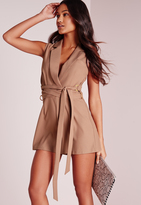 Missguided Tux D-Ring Wrap Belt Romper Taupe