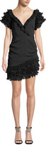 Saylor V-Neck Ruffle-Sleeve Mini Dress w/ Asymmetric Hem
