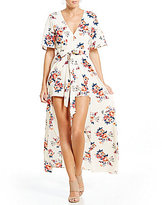 Midnight Doll V-Neck Floral Print Open Back Maxi Romper