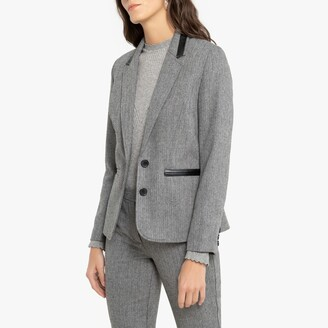 Anne Weyburn Slim Fit Tweed Blazer with Single-Breasted Buttons and Welt Pockets
