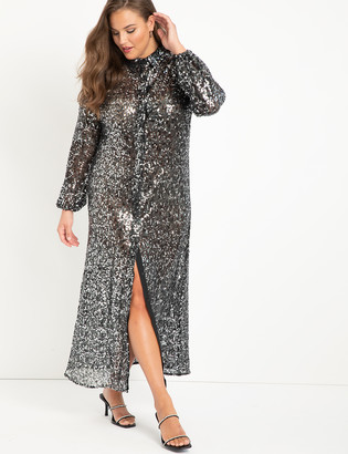 ELOQUII Sheer Sparkle Shirtdress