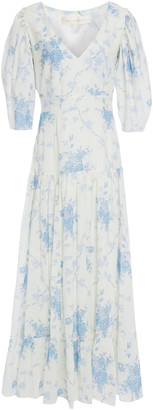 LoveShackFancy Lenny Fluted Floral-print Cotton-voile Maxi Dress