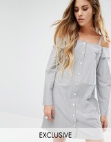 Reclaimed Vintage Reclamed Vintage Off Shoulder Shirt Dress