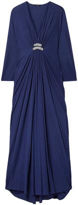 Reem Acra Draped Embellished Jersey Maxi Dress
