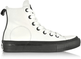 McQ White Smooth Leather Plimsoll High Sneakers