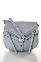 Botkier Sky Blue Leather Silver Tone Adjustable Strap Crossbody Shoulder Handbag