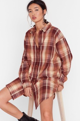 Nasty Gal Womens Meet Me At the Check Out Oversized Shirt - Brown