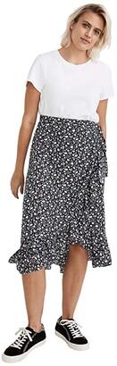 Madewell Ruffle-Edge Midi Wrap Skirt in Harvest Vine (Harvest Vine Deep Navy) Women's Skirt