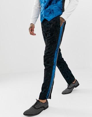 ASOS EDITION slim tuxedo trousers in teal burnout velvet