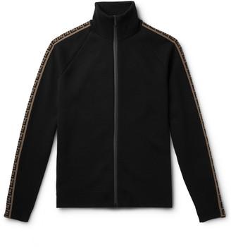 Fendi Logo-Intarsia Knitted Track Jacket