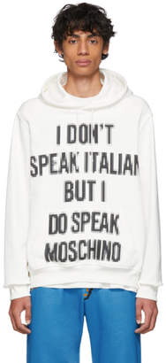 Moschino White The Sims Edition Pixel I Dont Speak Hoodie