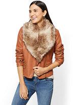 New York & Co. Faux-Leather Moto Jacket - Beige