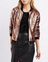 Charlotte Russe Sequin ZIp-Up Bomber Jacket