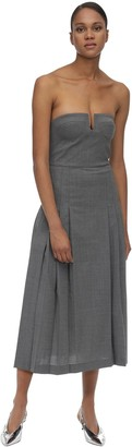 Maryam Nassir Zadeh Pleated Wool Blend Midi Dress