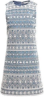 Alice + Olivia Coley Embroidered Sleeveless A-Line Dress