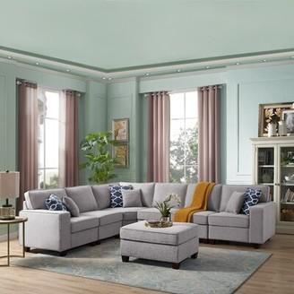 "Latitude Run Samual 123.5"" Reversible Modular Sectional with Ottoman Upholstery Color: Light Gray"