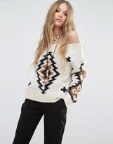 Moon River Off Shoulder Knitted Sweater