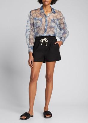 SIR the Label Anais Oversized Silk Button-Down Shirt