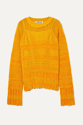 McQ Pointelle-knit And Chenille Top - Yellow