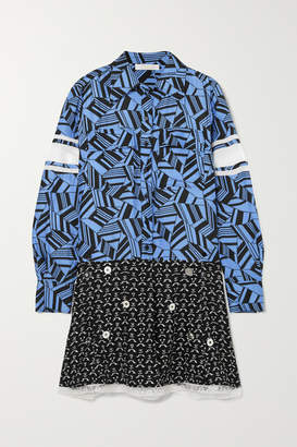 Chloé Embellished Printed Lace-trimmed Silk Mini Dress - Blue