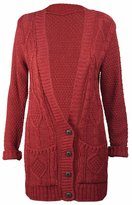 Purple Hanger Women's Long Sleeve Cable Knit Knitted Boyfriend Cardigan 12-14