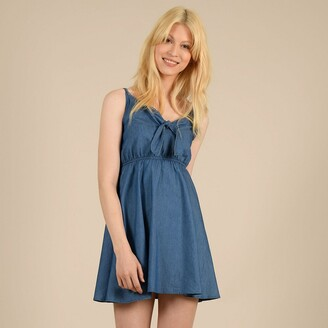 Molly Bracken Denim Mini Dress with Shoestring Straps and V-Neck