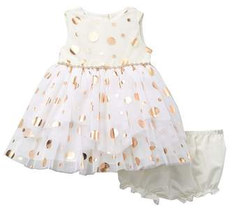 Pippa Pastourelle by and Julie Polka Dot Foil Tiered Tulle Dress (Baby Girls 0-9M)