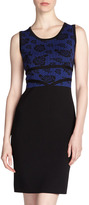 Carmen Marc Valvo Carmen by Rose-Lace-Print Knit Dress, Black/Blue