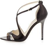 Brian Atwood Striped-Heel Crisscross Sandal
