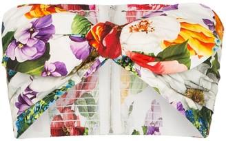 Dolce & Gabbana Floral Print Tie-Front Bikini Top